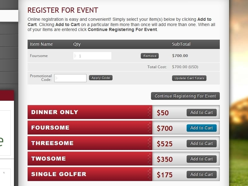 a picture of the golf event tournament packages that registrants can add to cart during registration process.