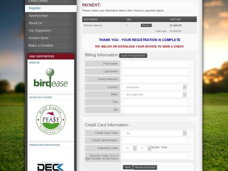 a picture of the golf event online registration payment page through birdease systems.