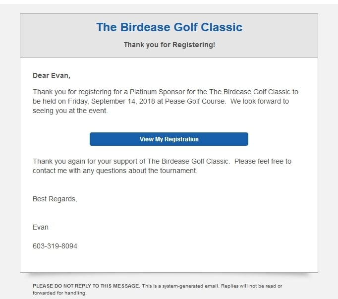 a picture of the golf registration confirmation email sent to registrant from birdease systems.