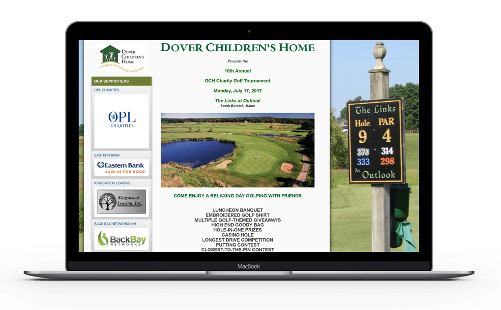 A picture of a golf event website being hosted year round representing the promotion capabilities before and after the event on a laptop.