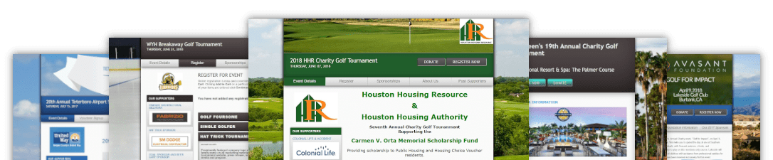 a picture of multiple golf event website templates available through birdease systems.