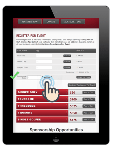 a picture of the event registration page with promo code on birdease systems.