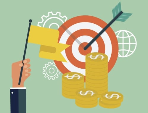 a picture of a bullseye with money stacked next to it representing the increase in event success when using birdease marketing tools.