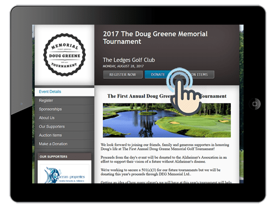 a picture of a golf event website with online donation capabilities on an ipad.