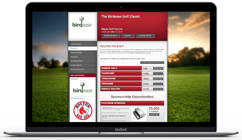 A picture of an example golf tournament event website with sponsor packages and registration items on a laptop.