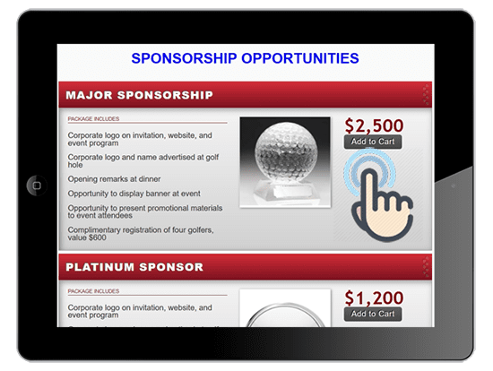 a picture of a golf event major sponsor registration item being purchased on ipad.