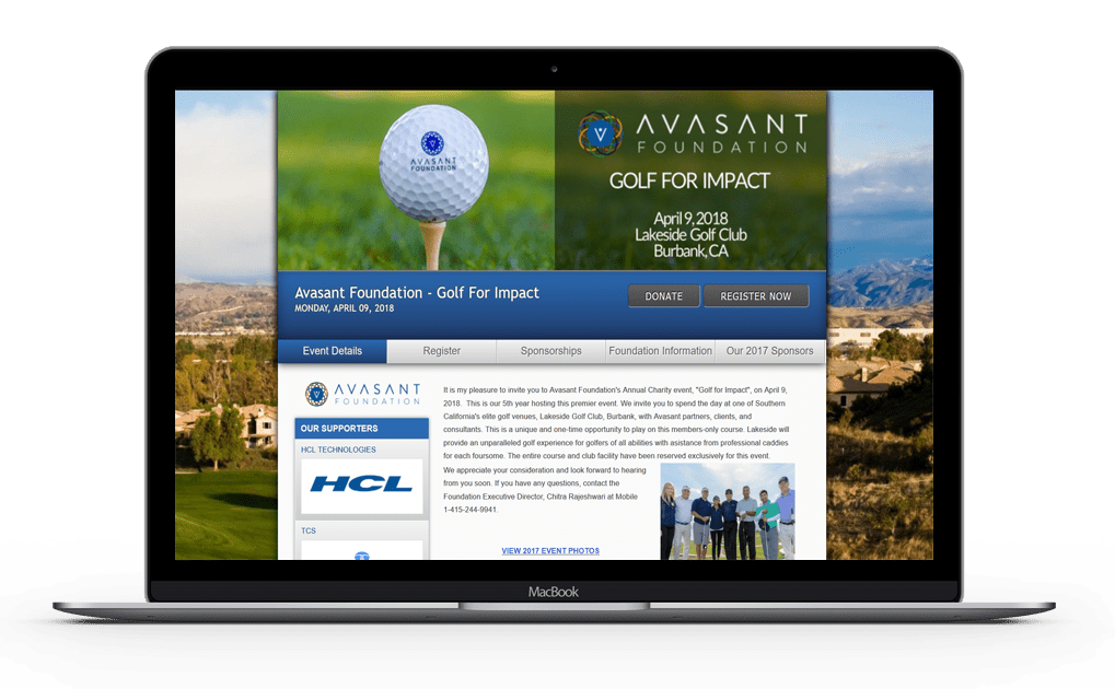 golf event website with golf ball banner for avasant foundation.