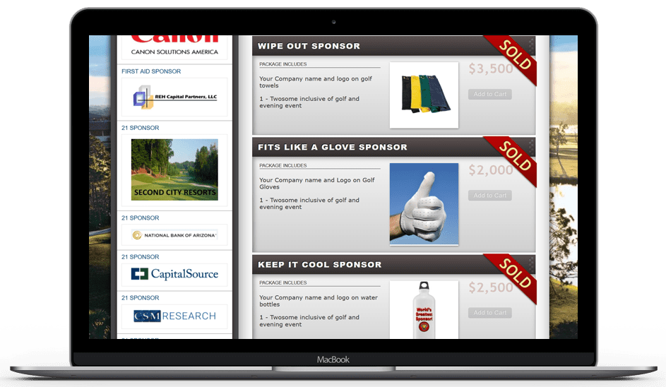 a picture of a laptop showing sold golf event sponsor packages.