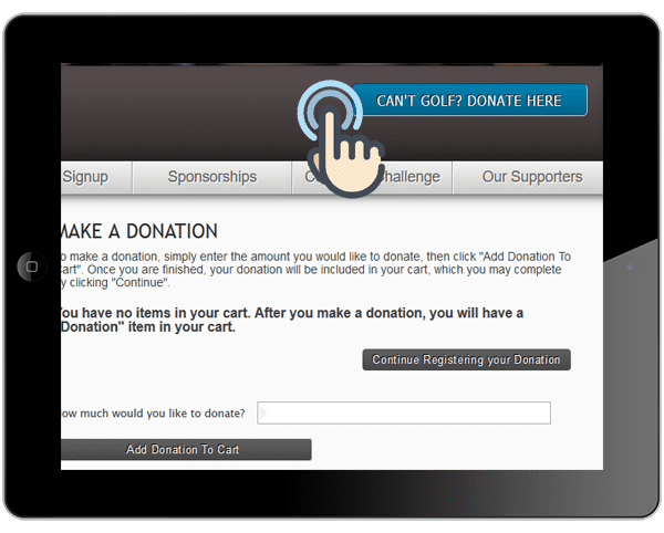 A picture of the golf event online donation button on a golf tournament website.