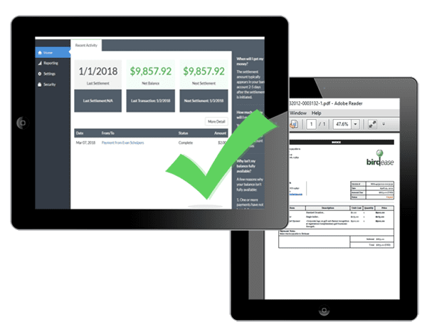 a picture showing the ease of accepting online payments and previewing payment invoices across multiple devices.