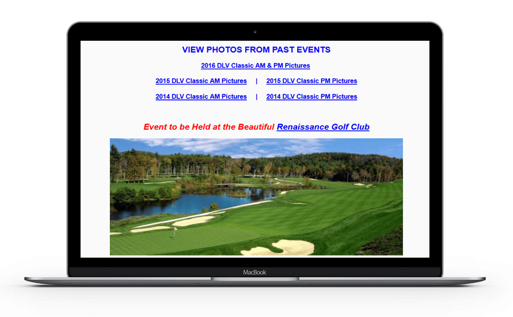 A picture showing promotion of past and future golf events on a laptop.