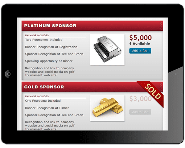 a picture of golf event registration items quantity tracking page on ipad.