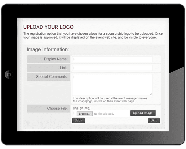 a picture of the sponsor registration form with image upload capabilities on ipad.