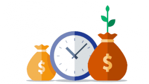 A picture of a clock with money bags around it representing the increase in donations through the ease of online payment processing.