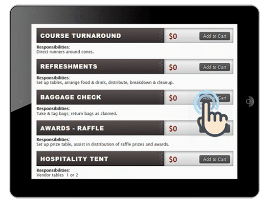 A picture of the volunteer items registration page showing the ease of allowing volunteers to choose roles they wish to volunteer for on ipad.