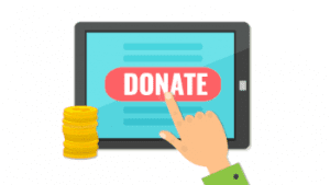A picture of a donate button being clicked on a monitor referring to the ease of golf event online donation acceptance with birdease systems.