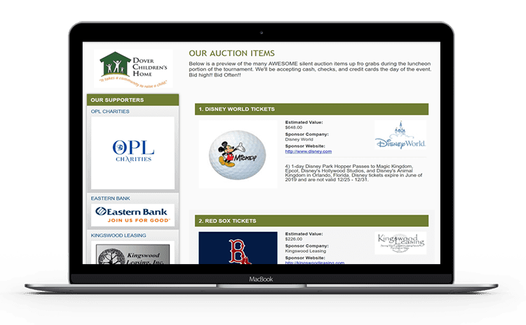 a picture of a golf event website auction items page on a laptop.