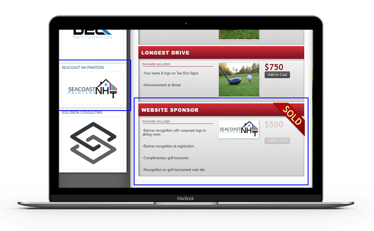 a picture showing golf event sponsor promotion for sold sponsor packages on a laptop.