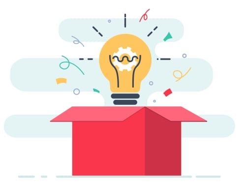 A picture of a lightbulb coming out of a box representing the ability to try out new fundraising ideas by using the birdease golf event management tools.