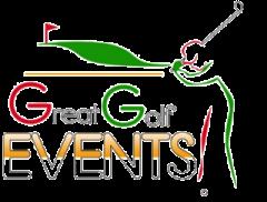 Great golf events logo with golfer swinging club.